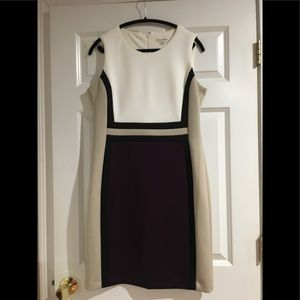 Calvin Klein color block dress and bolero